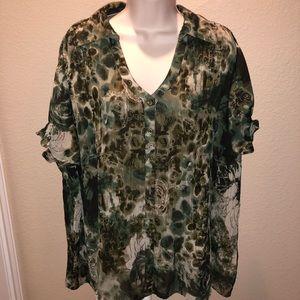 dressbarn - Beautiful Army Green & Tan Shirt